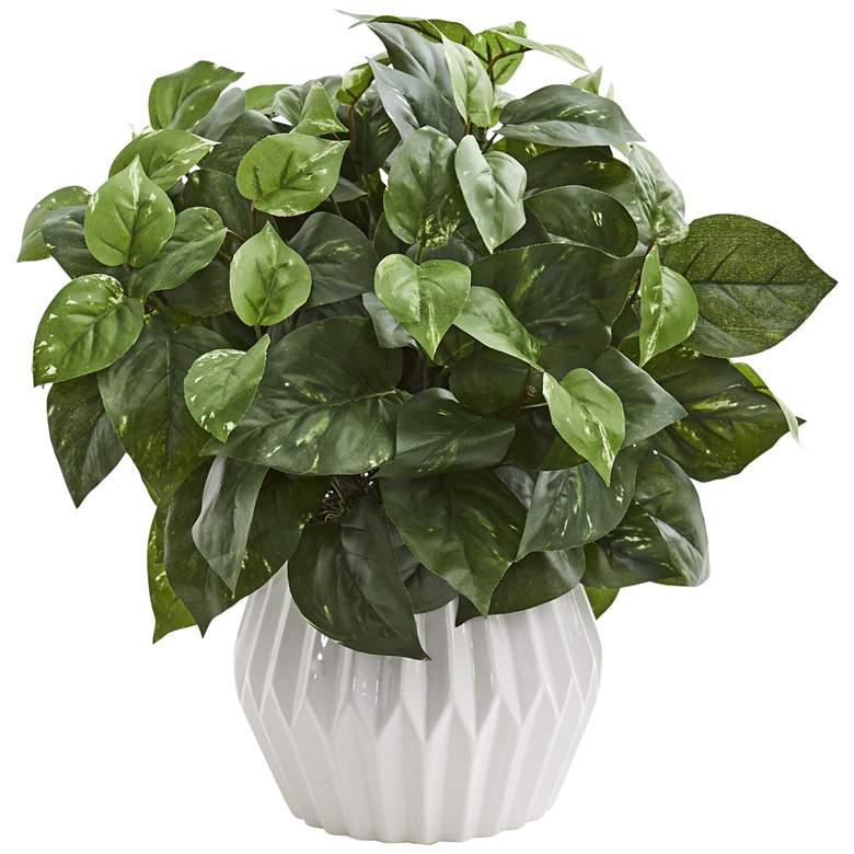 "Green Pothos 16"" High Faux Plant in White Ceramic Vase"