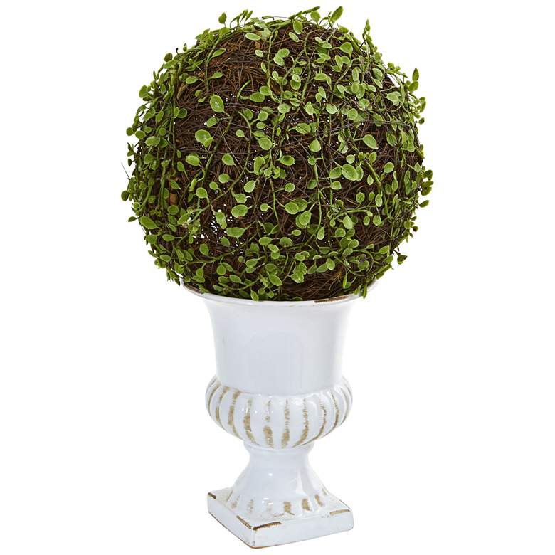 """Green Mohlenbechia Ball Topiary 18""""H Faux Plant in"""