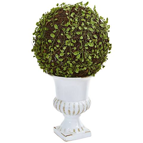 """Green Mohlenbechia Ball Topiary 18""""H Faux Plant in White Urn"""
