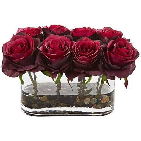 "Burgundy Blooming Roses 8 1/2""W Faux Flowers in Glass Vase"