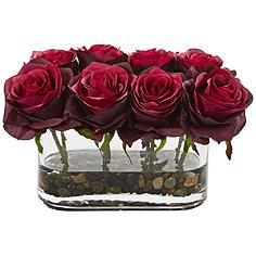 "Burgundy Blooming Roses 8 1/2""W Faux Flowers in Glass Vase"