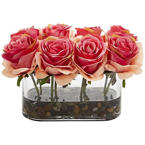 """Dark Pink Blooming Roses 8 1/2""""W Faux Flowers in Glass Vase"""
