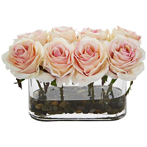 """Light Pink Blooming Roses 8 1/2""""W Faux Flowers in Glass Vase"""