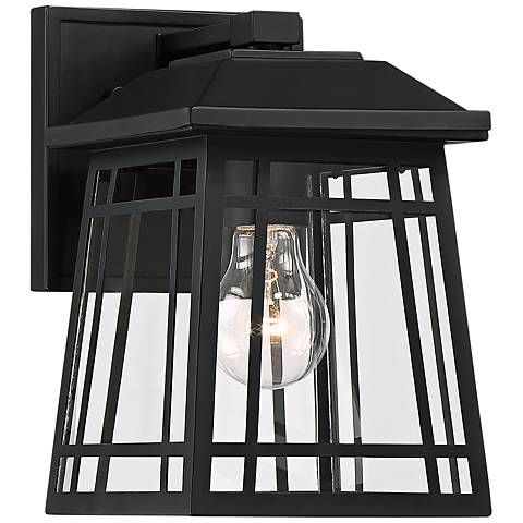 "East Ridge 10"" High Black Caged Outdoor Wall Light"