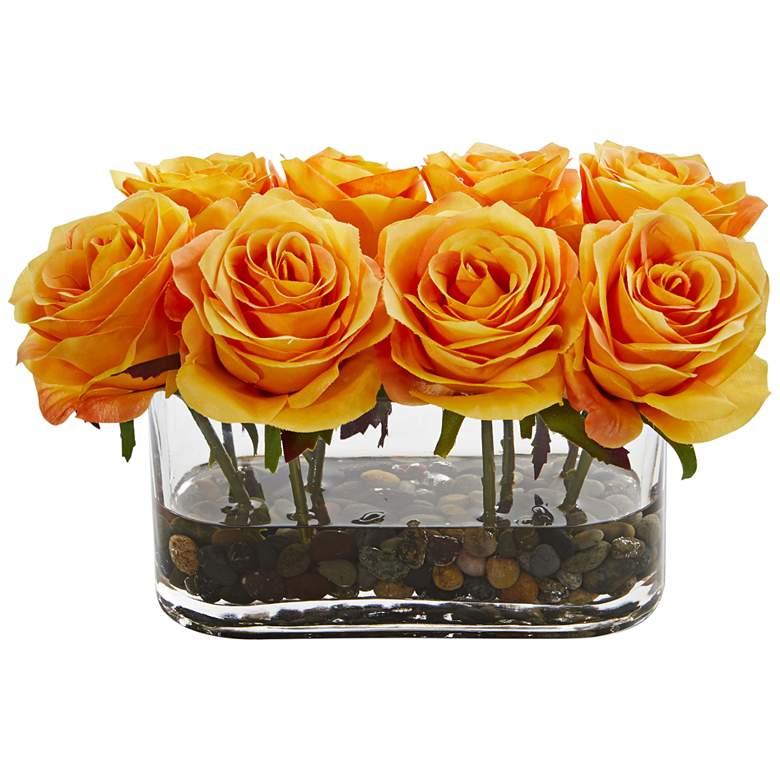 """Orange Blooming Roses 8 1/2"""" Wide Faux Flowers"""