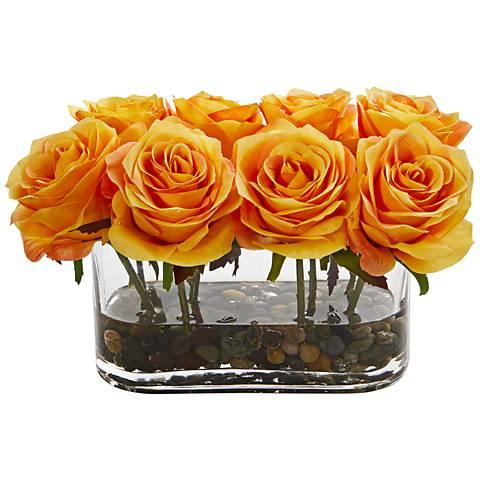 """Orange Blooming Roses 8 1/2"""" Wide Faux Flowers in Glass Vase"""