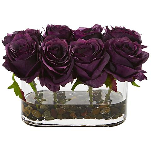 "Purple Blooming Roses 8 1/2"" Wide Faux Flowers in Glass Vase"