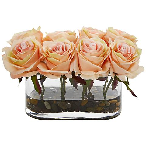 "Peach Blooming Roses 8 1/2"" Wide Faux Flowers in Glass Vase"