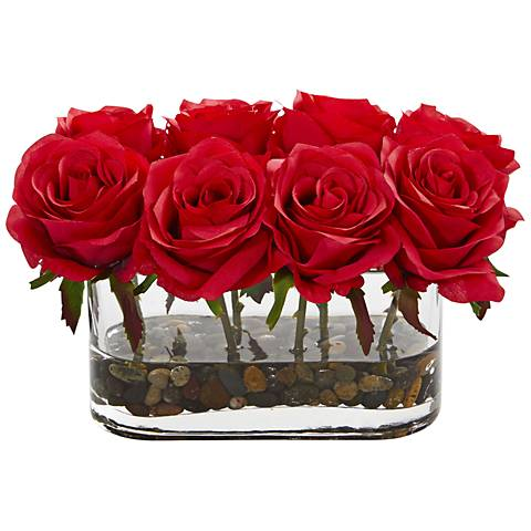 """Red Blooming Roses 8 1/2"""" Wide Faux Flowers in Glass Vase"""
