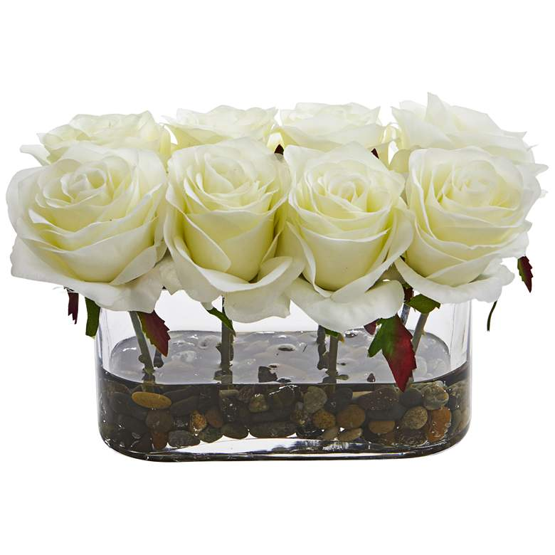 """White Blooming Roses 8 1/2"""" Wide Faux Flowers in Glass Vase"""