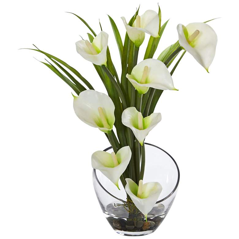 """Cream Calla Lily and Grass 15 1/2"""" Wide Faux Flowers in Vase"""