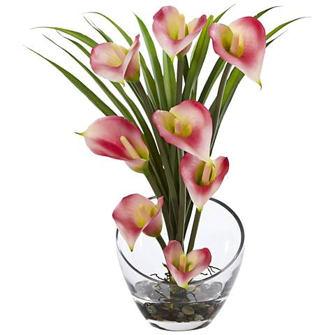 """Pink Calla Lily and Grass 15 1/2"""" Wide Faux Flowers in Vase"""