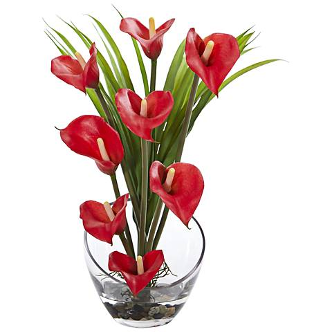 "Red Calla Lily and Grass 15 1/2"" Wide Faux Flowers in Vase"