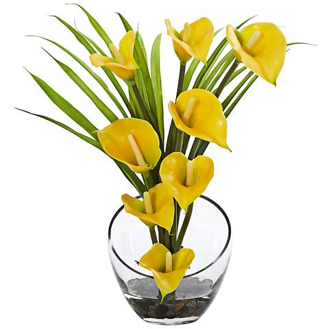 """Yellow Calla Lily and Grass 15 1/2""""W Faux Flowers in Vase"""