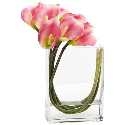"Pink Calla Lily 12""W Faux Flowers in Rectangular Glass Vase"