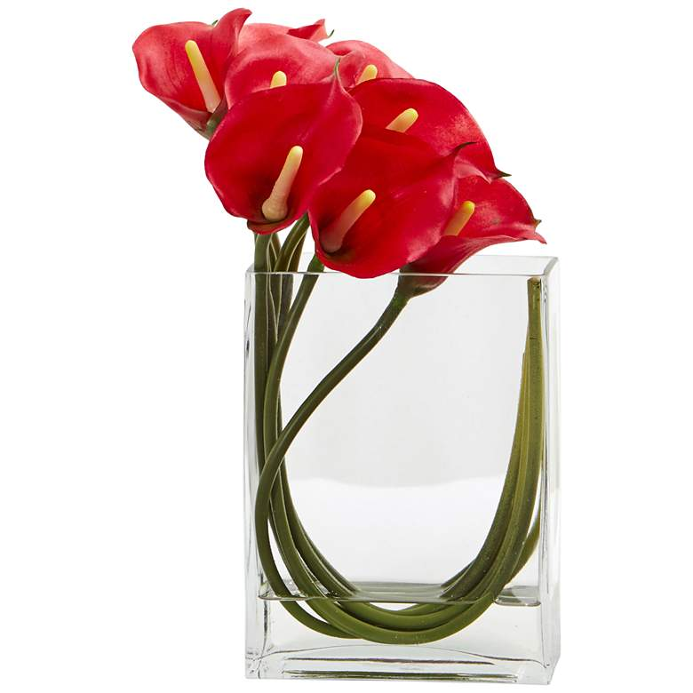 """Red Calla Lily 12""""W Faux Flowers in Rectangular Glass Vase"""