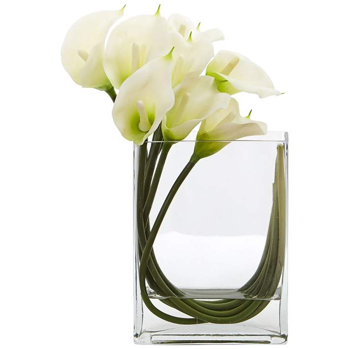 White Calla Lily 12 W Faux Flowers In Rectangular Glass Vase