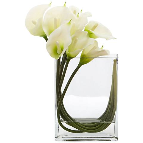 "White Calla Lily 12""W Faux Flowers in Rectangular Glass Vase"