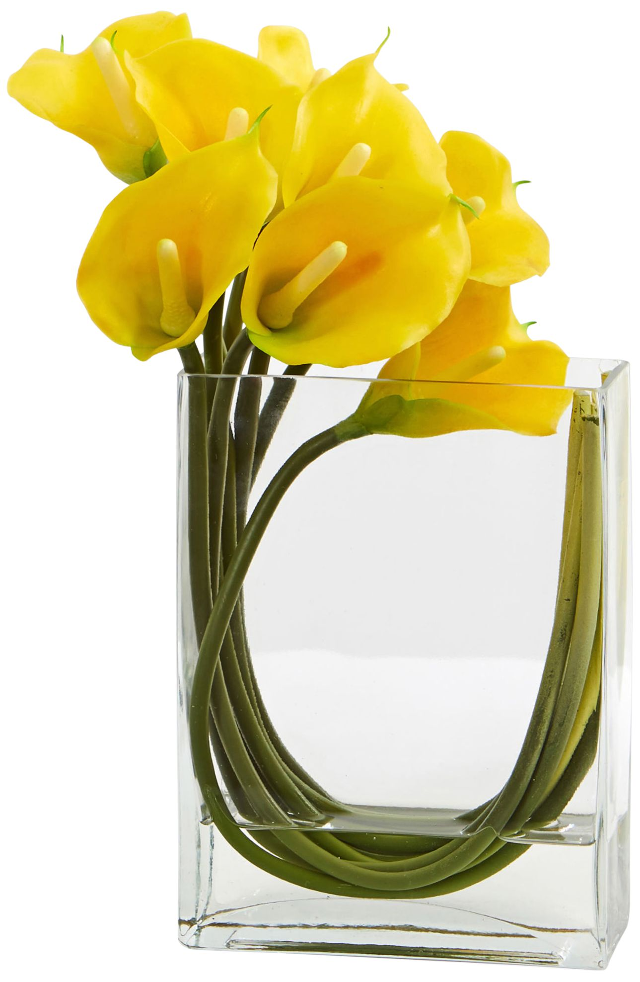 Yellow Calla Lily 12\u0026quot; Wide Faux Flowers in Glass Vase  sc 1 st  L&s Plus & Yellow Calla Lily 12\