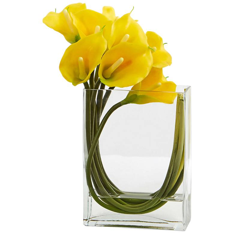 """Yellow Calla Lily 12"""" Wide Faux Flowers in Glass Vase"""