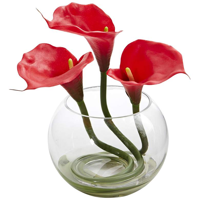 """Red Calla Lily 9"""" High Faux Flowers in Round Glass Vase"""
