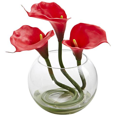 "Red Calla Lily 9"" High Faux Flowers in Round Glass Vase"