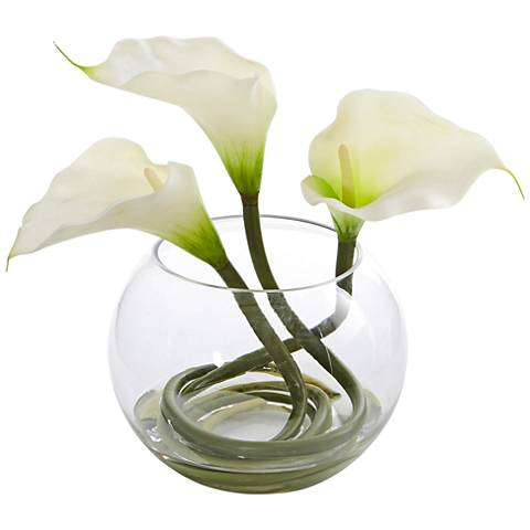 """White Calla Lily 9"""" High Faux Flowers in Round Glass Vase"""