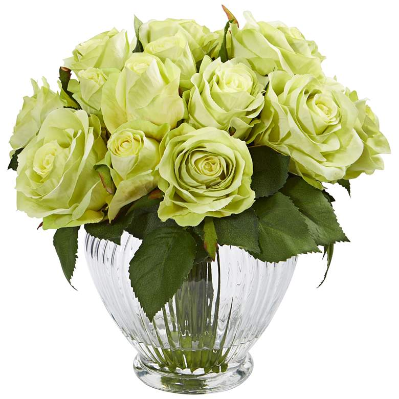 """Green Rose 10"""" Wide Faux Flowers in Round Glass Vase"""