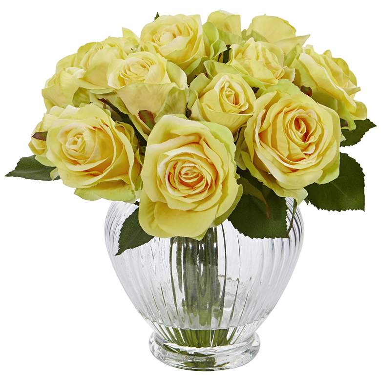 "Yellow Rose 10"" Wide Faux Flowers in Round Glass Vase"
