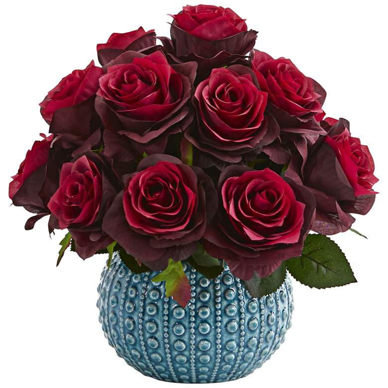 """Burgundy Rose 11 1/2"""" Wide Faux Flowers in Ceramic Vase"""