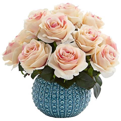 "Light Pink Rose 11 1/2"" Wide Faux Flowers in Ceramic Vase"
