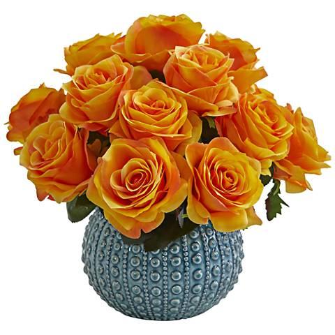 "Orange Yellow Rose 11 1/2"" Wide Faux Flowers in Ceramic Vase"