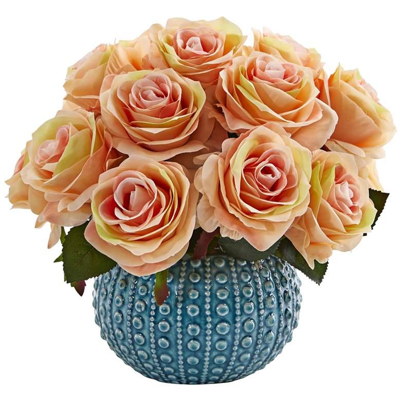 "Peach Rose 11 1/2"" Wide Faux Flowers in"