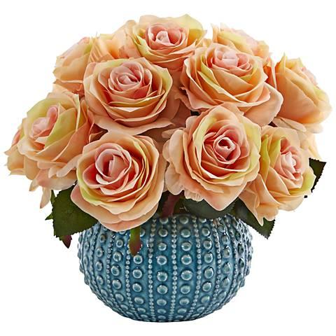 "Peach Rose 11 1/2"" Wide Faux Flowers in Ceramic Vase"