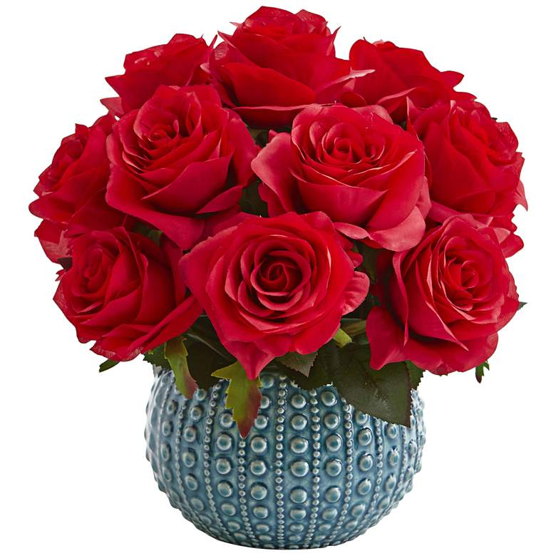 Red Rose 11 1 2 Wide Faux Flowers In Ceramic Vase