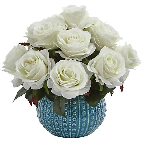 """White Rose 11 1/2"""" Wide Faux Flowers in Ceramic Vase"""