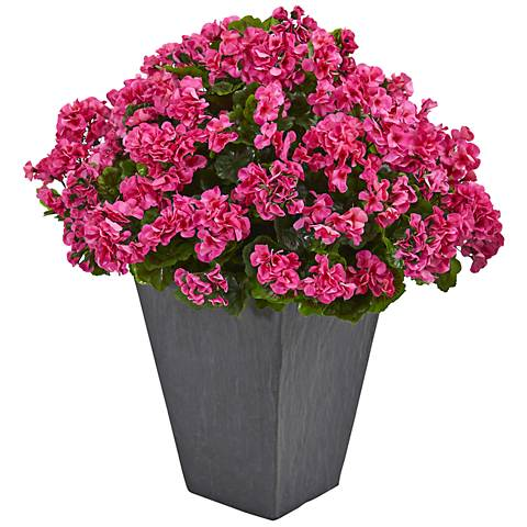 "Beauty Geranium 33"" High Faux Plant in Slate Planter"