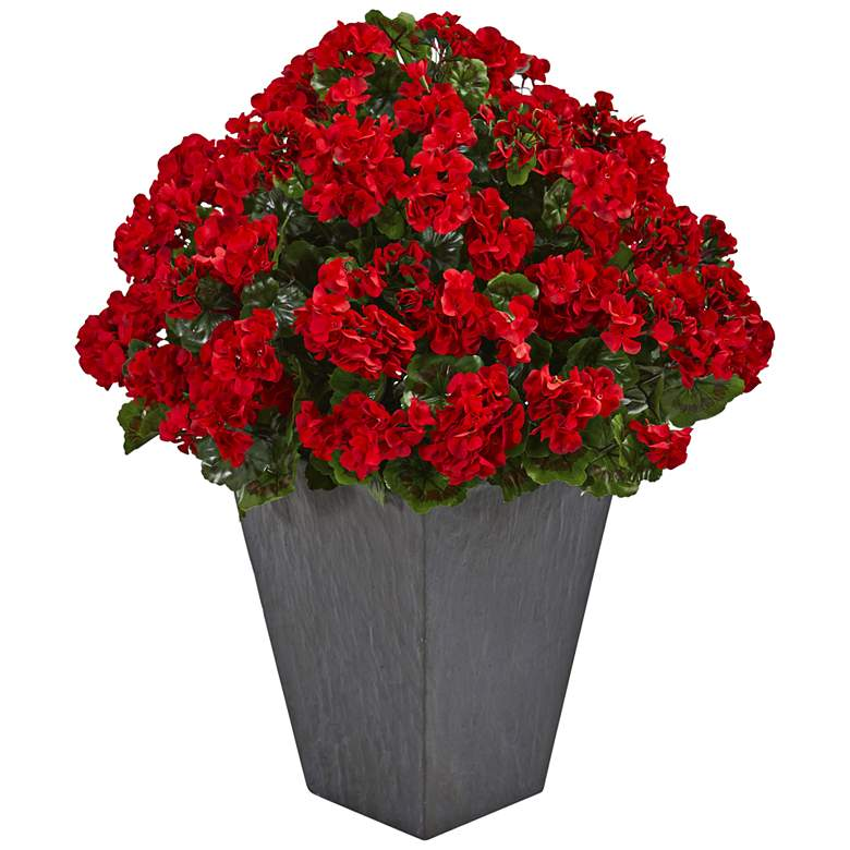 """Red Geranium 33"""" High Faux Plant in Slate Planter"""