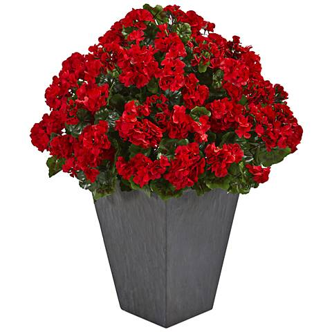 "Red Geranium 33"" High Faux Plant in Slate Planter"