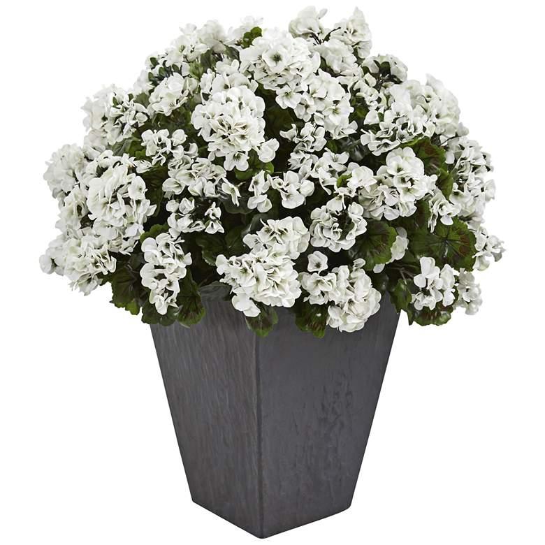 "White Geranium 33"" High Faux Plant in Slate Planter"