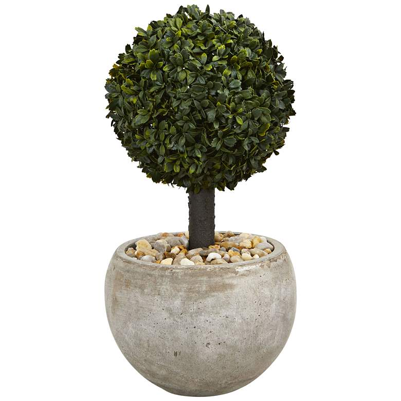 """Green Boxwood Topiary 24"""" High Faux Plant in Sand Bowl"""