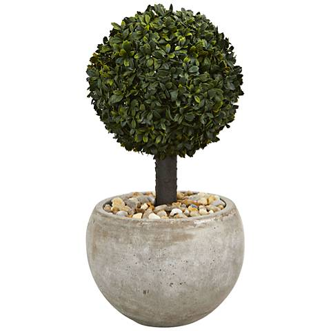 "Green Boxwood Topiary 24"" High Faux Plant in Sand Bowl"