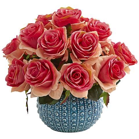 """Dark Pink Rose 11 1/2""""W Faux Flowers in Blue Ceramic Vase"""