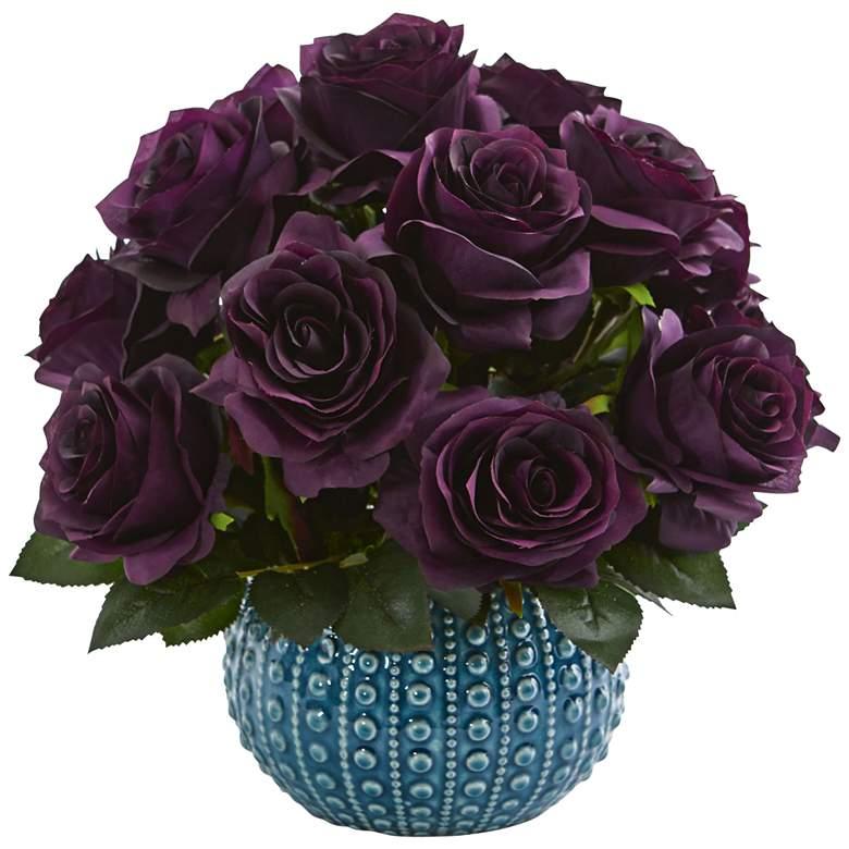 """Purple Rose 11 1/2"""" Wide Faux Flowers in"""