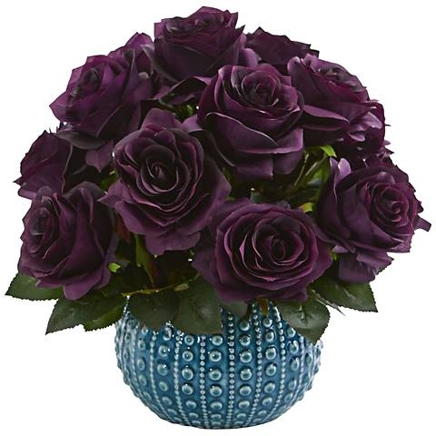 "Purple Rose 11 1/2"" Wide Faux Flowers in Blue Ceramic Vase"