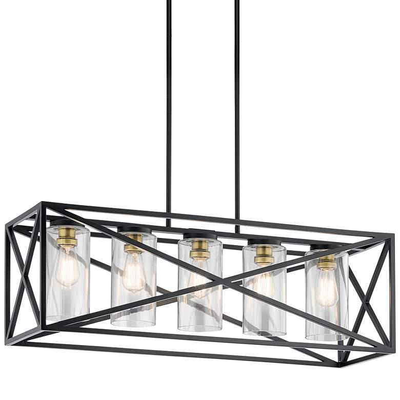 "Kichler Moorgate 36"" Wide Black Kitchen Island Light Pendant"