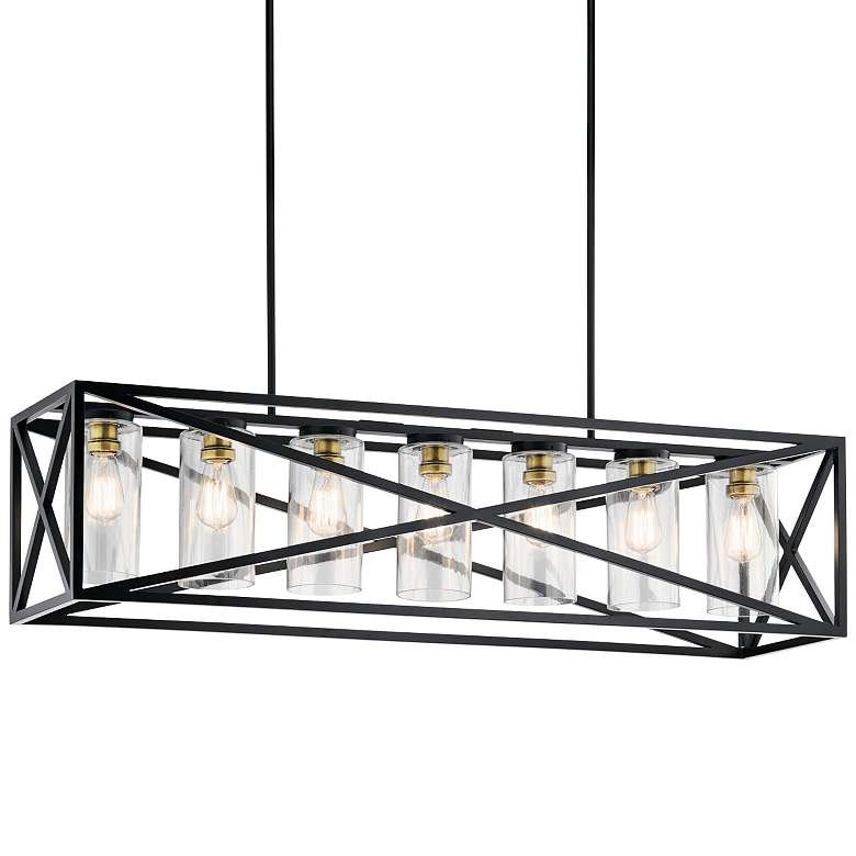 "Kichler Moorgate 48"" Wide Black Kitchen Island Light Pendant"