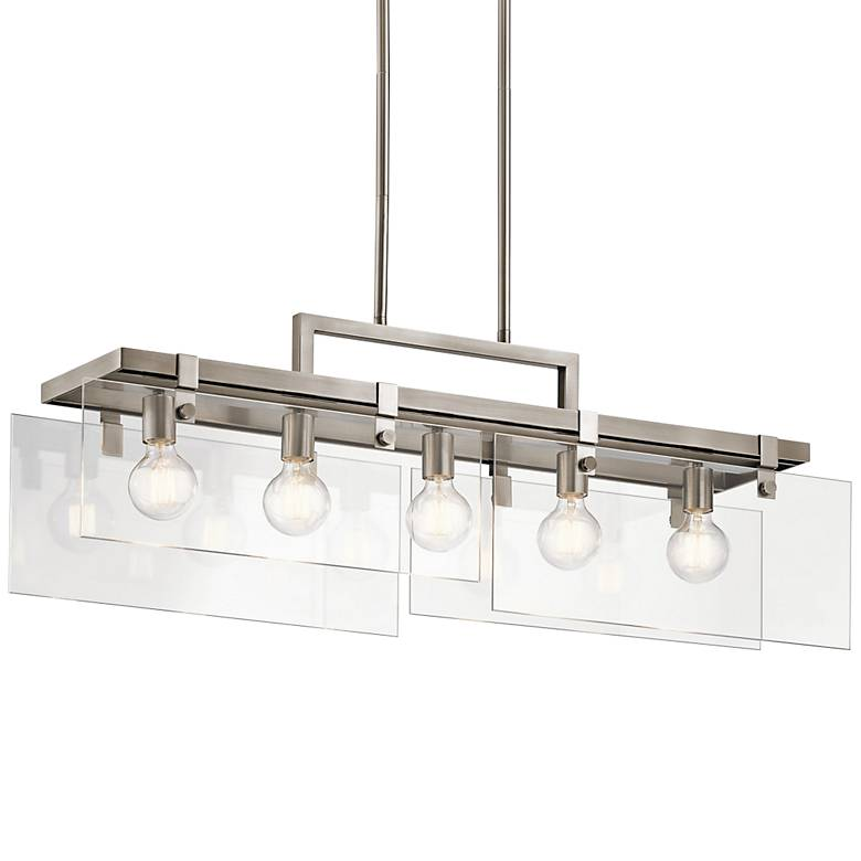 """Tiers 36 1/2"""" Wide Classic Pewter 5-Light Island Pendant"""