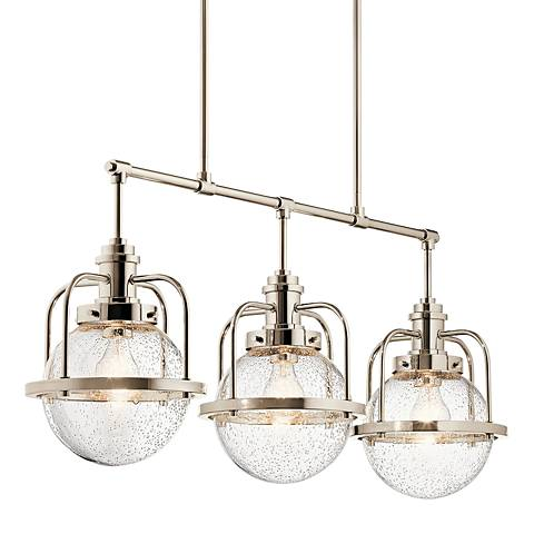 "Triocent 36"" Wide Polished Nickel 3-Light Island Pendant"