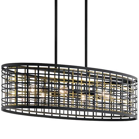 "Kichler Aldergate 38"" Wide Black 6-Light Oval Pendant"